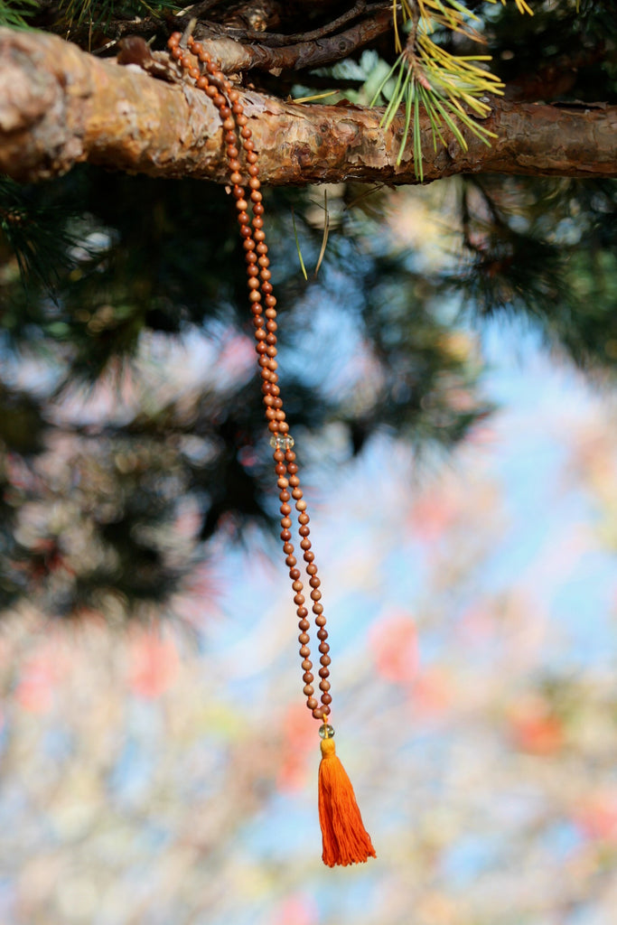 Manifestation bead Mala in premium Sandalwood and Citrine beads and silver charm Lotus Mandala