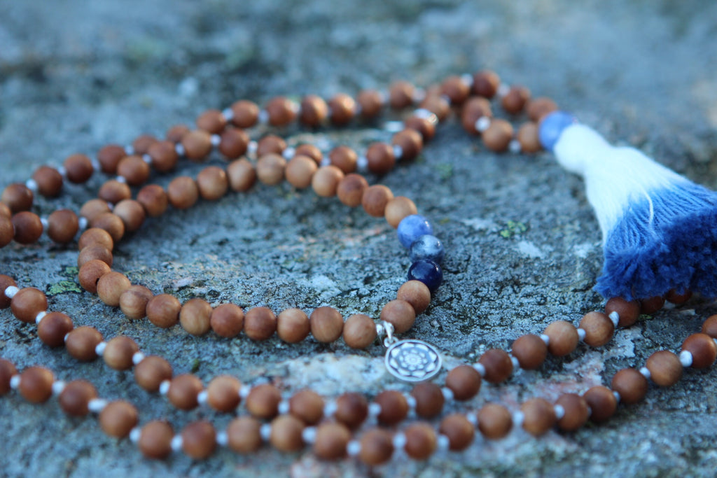 Heart song mala in Sandalwood & Sodalite with cotton tassel