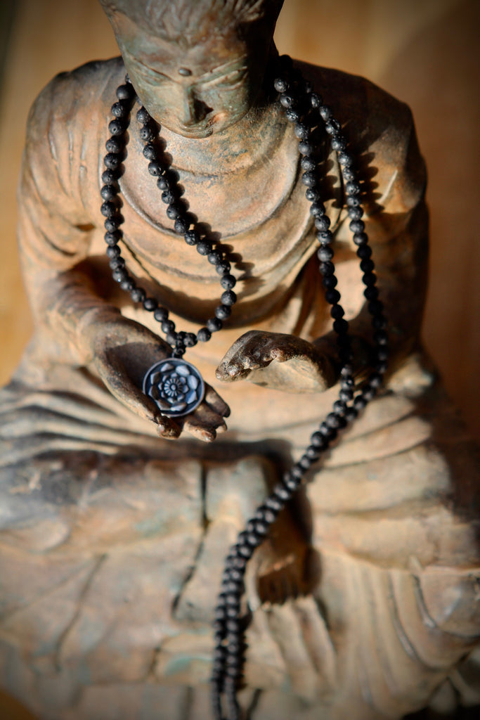 I am Fierce, I am strong Mala in 216 lava beads and silver
