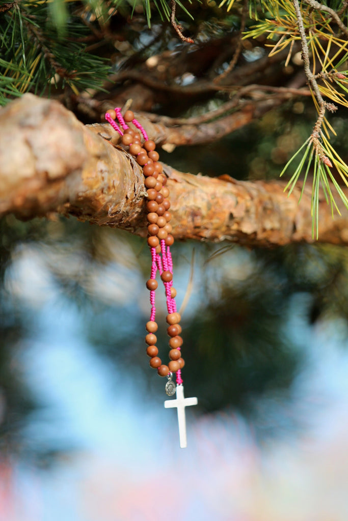 Rosary beads in premium sandalwood with crucifix in silver and silver charm Lotusflower