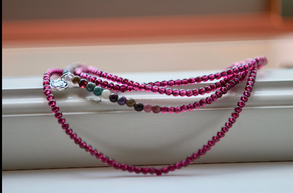 Bracelet Necklace Anklet wrap in premium Tourmaline and Garnet with silver charm Lotus Mandala