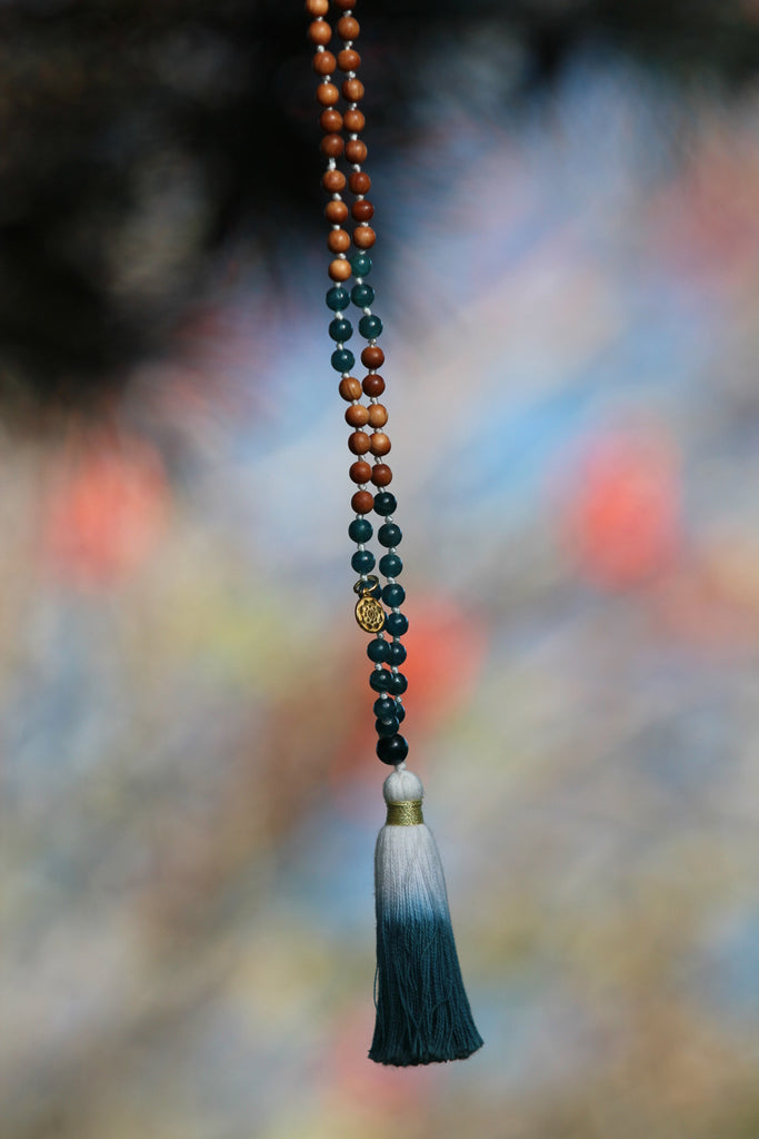 My Courage Mala Apatite & Sandalwood beads and silvercharm Lotus flower