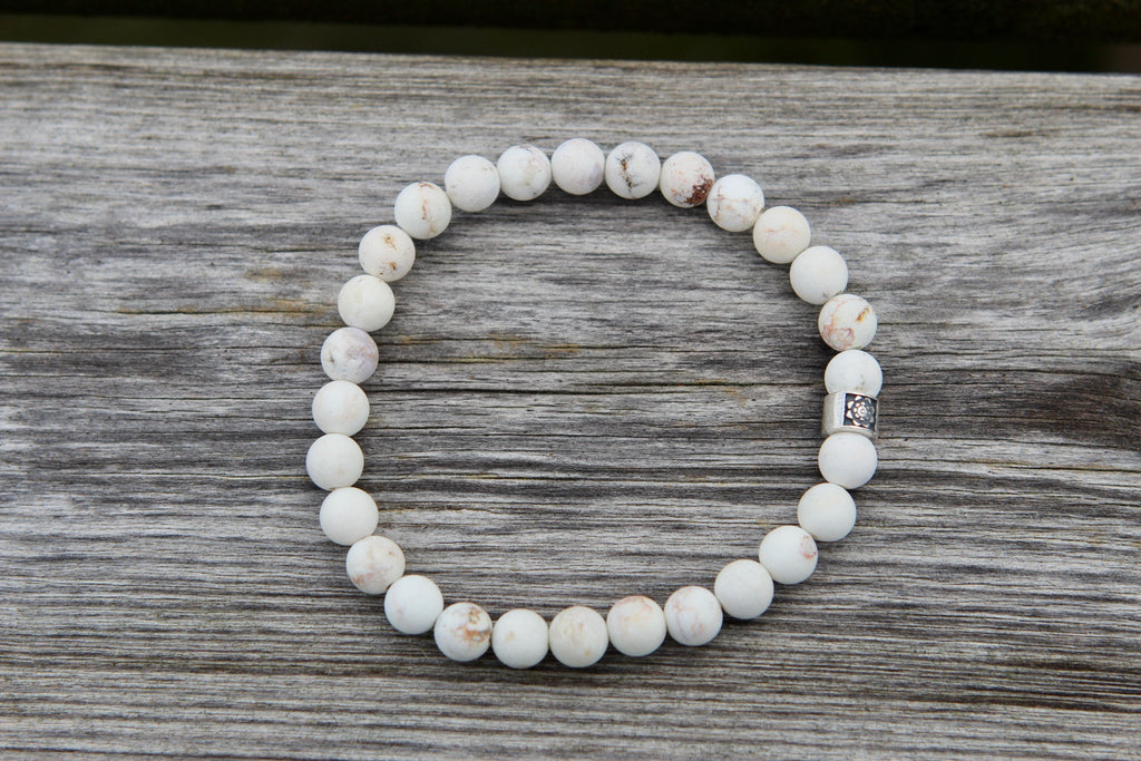 Calm & Peace Mala bracelet in Howlite and silver bead Lotus flower