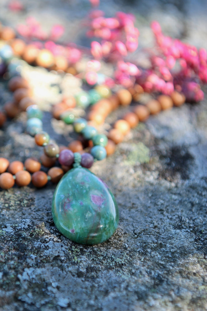 I  HONOUR MYSELF mala in Ruby in Zoisite, Tourmaline & Sandalwood (A)