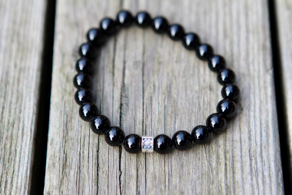 Inner Peace & Balance bracelet in beautiful Black Agate with a silver bead Lotus flower