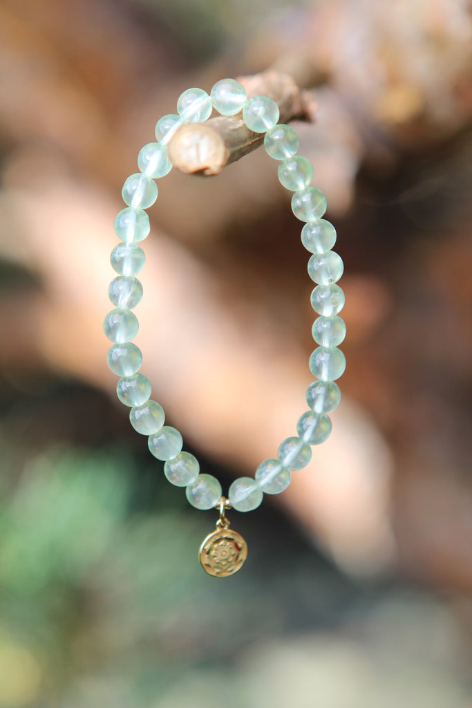 Bracelet Mala in Prehnite with gold plated silver charm Lotus Mandala