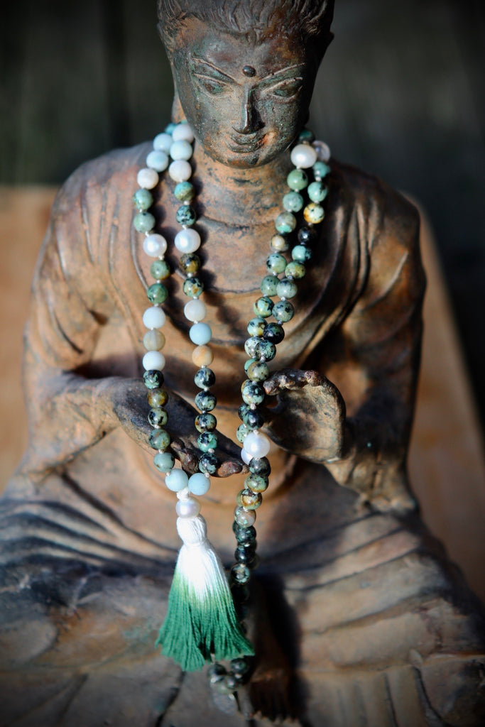 Hope & Protection mala in handknotted African Turquoise, Amazonite and freshwater pearls
