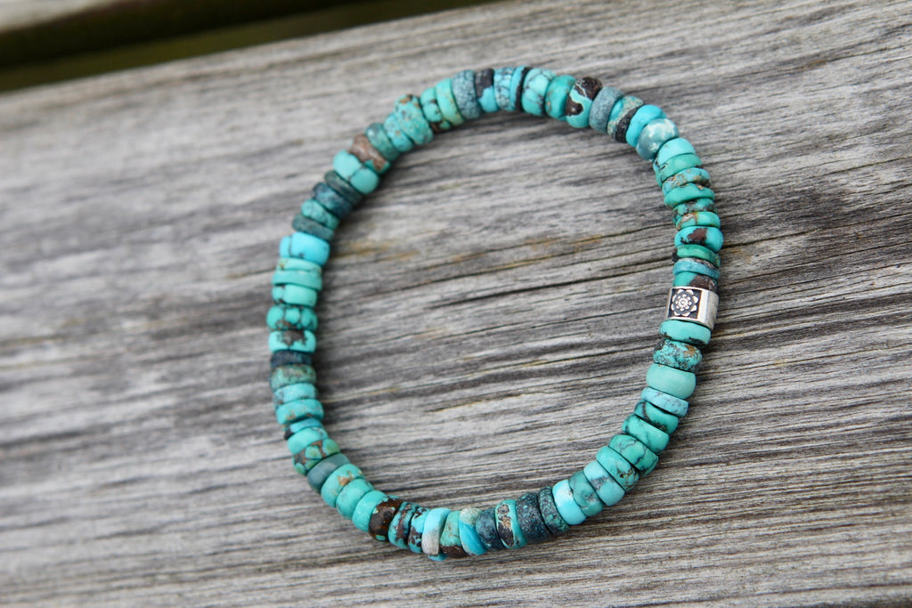 Truth bracelet in premium Turquoise with silver bead Lotusflower