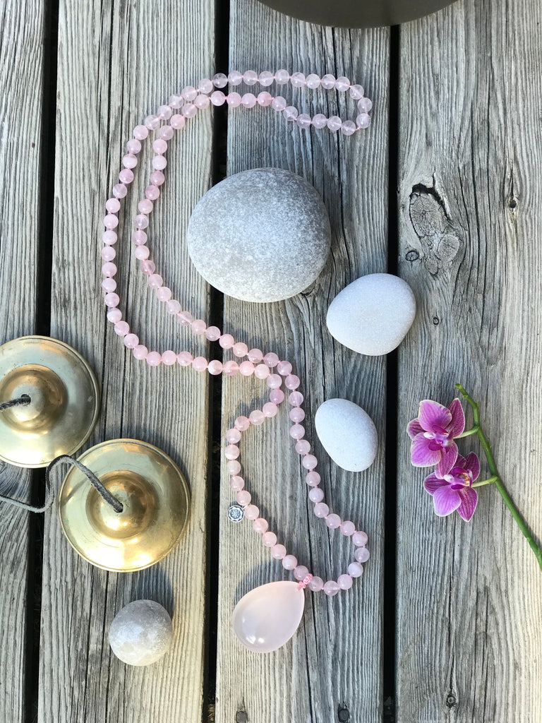 LOVE Mala in premium Rose Quartz with guru bead in Rose quartz and silver charm Lotus flower