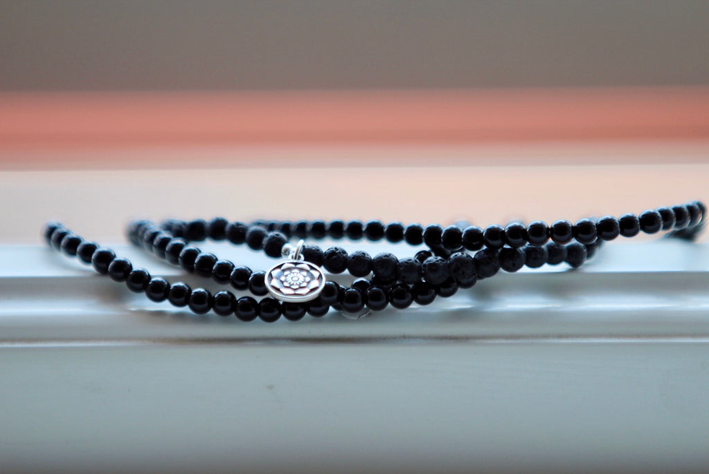 Bracelet Necklace Anklet wrap in Black Agate and Lava with silver charm Lotus mandala