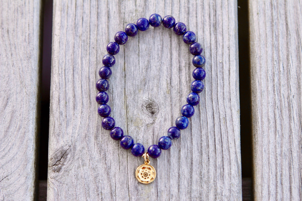 Bracelet Mala in premium Lapis Lazuli with gold plated silver Lotus Mandala