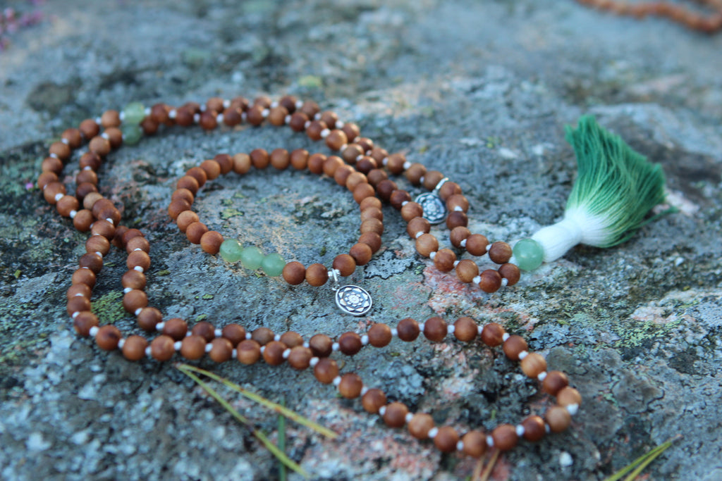 Healing if the Heart Mala in Sandalwood & Aventurine with cotton tassel