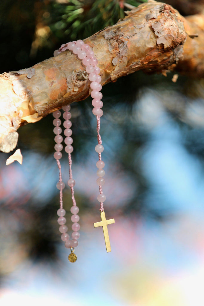 Rosary beads in premium Rose Quartz with brass crucifix with gold plated silver charm