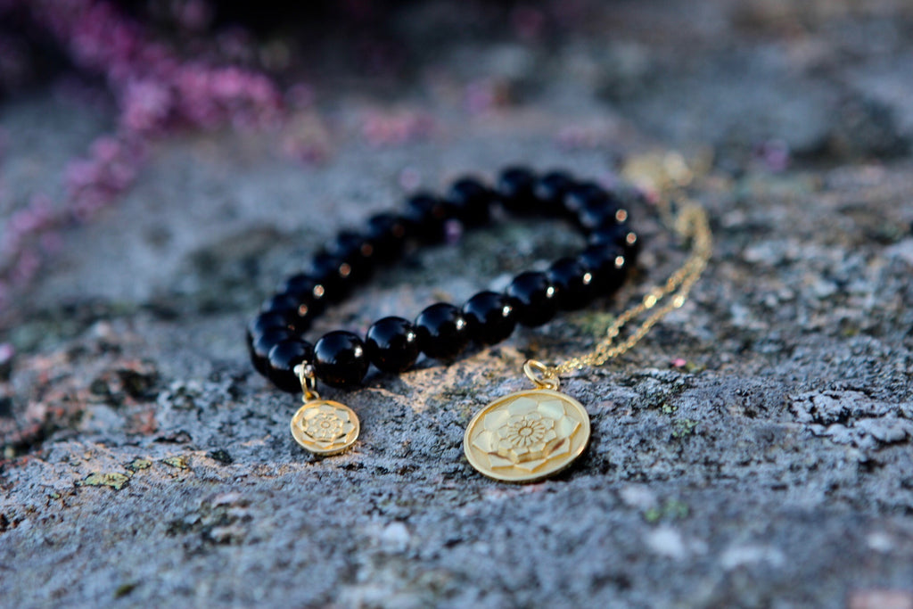 Mala bracelet Black Agate with gold plated silver charm Lotus flower