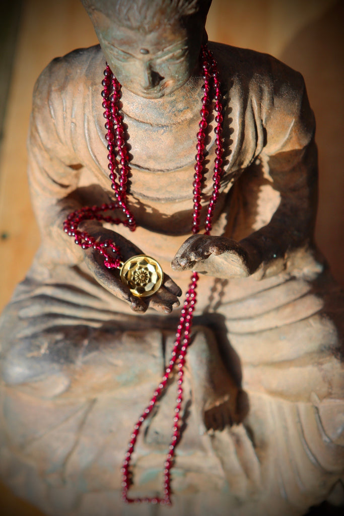 Hear me sing my heartsong mala in 216 garnet beads with goldplated silver Lotus Mandala