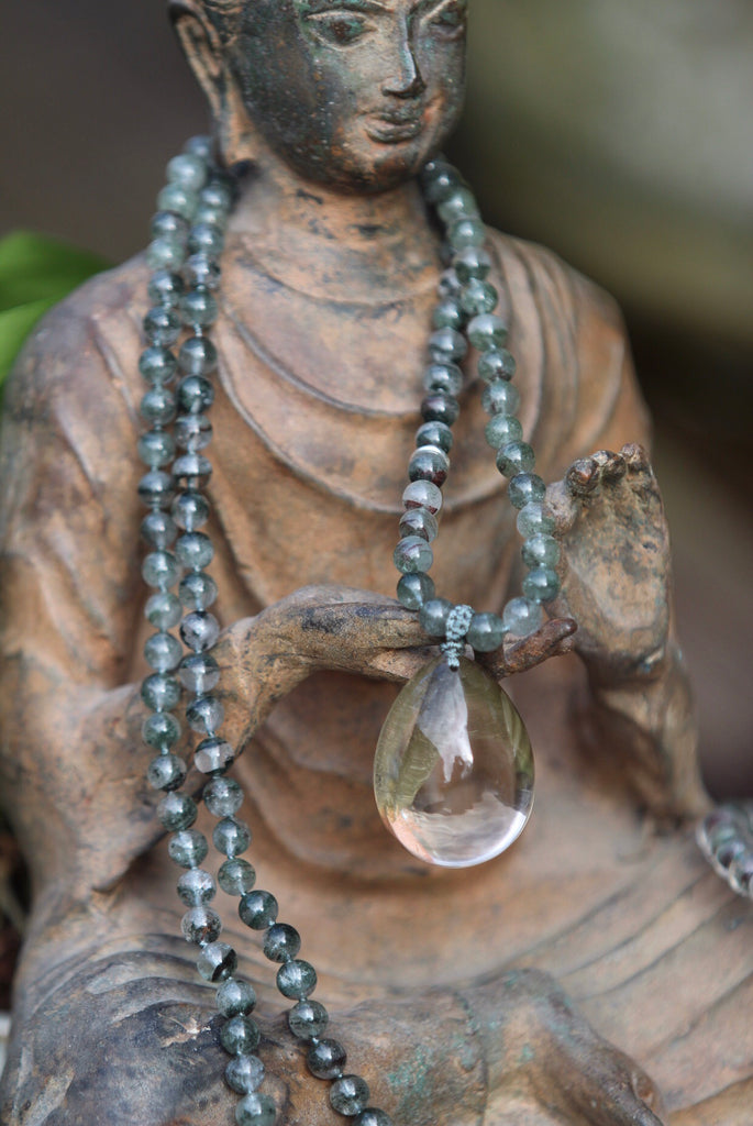 Inner PEACE mala in Phantom Quartz and gurubead in amazing Phantom quartz