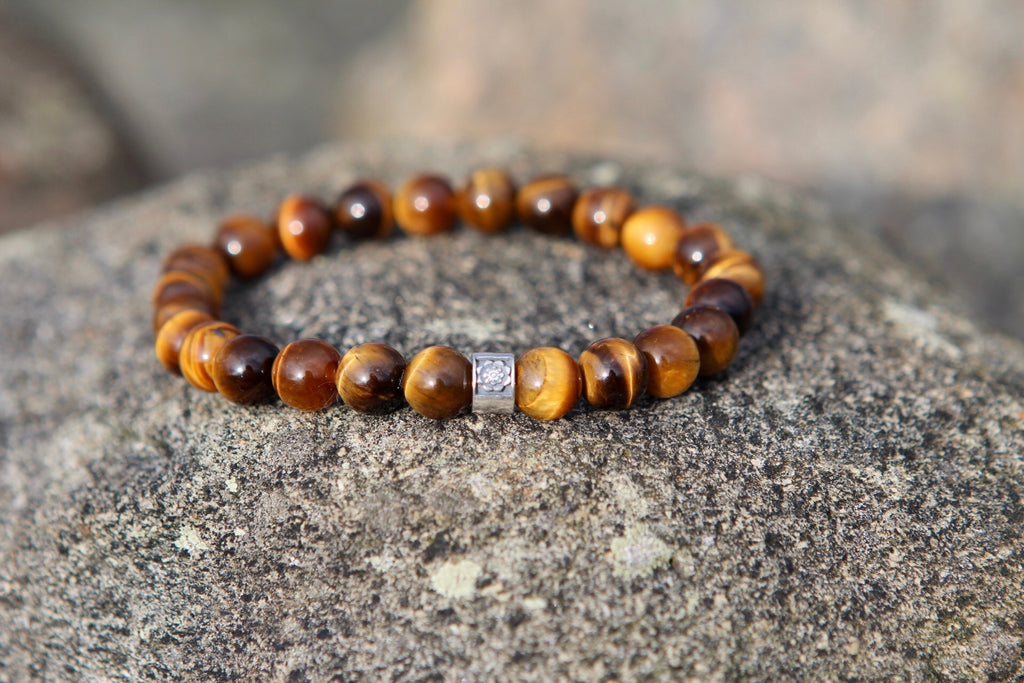 Protection & Balance bracelet in Tiger Eye and silver with silver Lotus bead