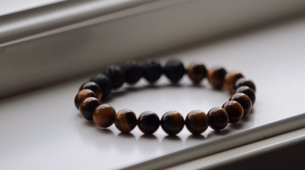 Protection & Courage bracelet in Tiger Eye & Lava Mala Bracelet