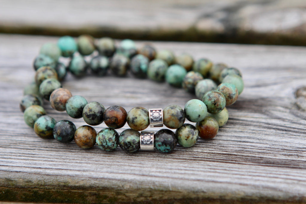 Truth & Luck bracelet in African Turquoise with silver bead Lotus flower