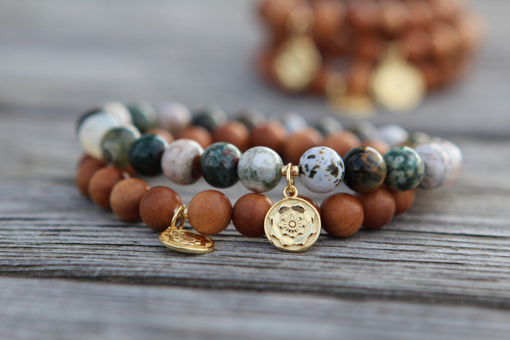 Bracelet mala in Orbicular Jasper with gold plated silver charm Lotus Mandala