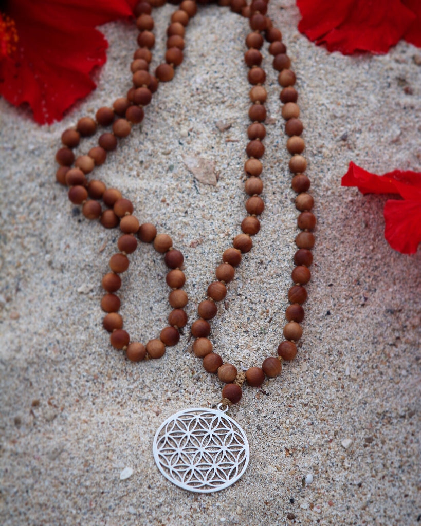GAYATRI MALA in Beautiful Sandalwood & Silver gurubead Seed of Life