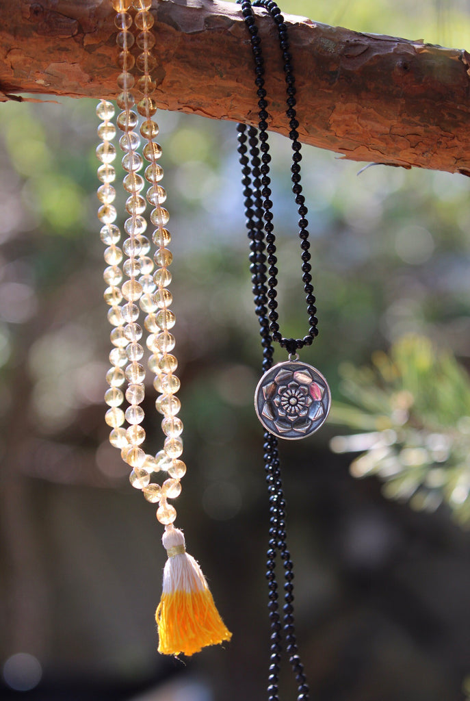 I am Mala 216 beads in Lava & Black Agate and silver pendant Lotus Flower