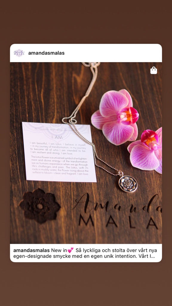 I AM necklace in 925 silver Lotus charm with intentioncard