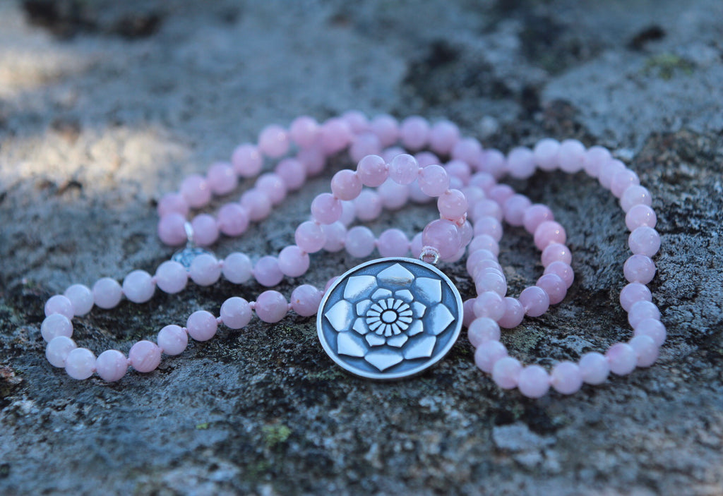 I am Mala in beautiful Rose quartz with silver Lotus Mandala