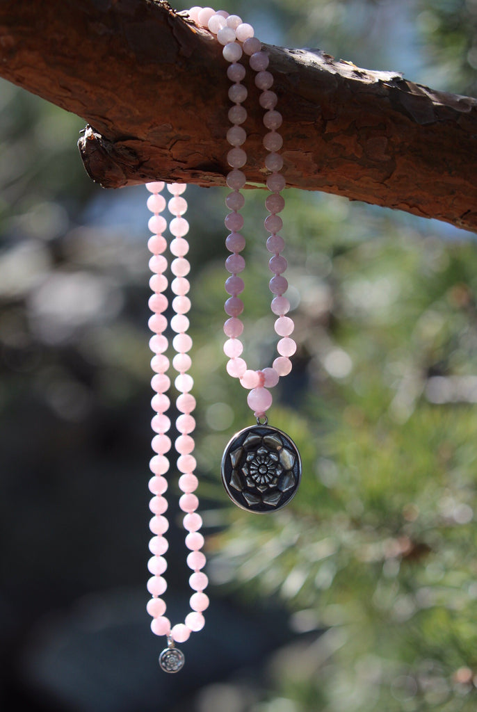 I AM Mala in beautiful Rose quartz with silver Lotus Flower