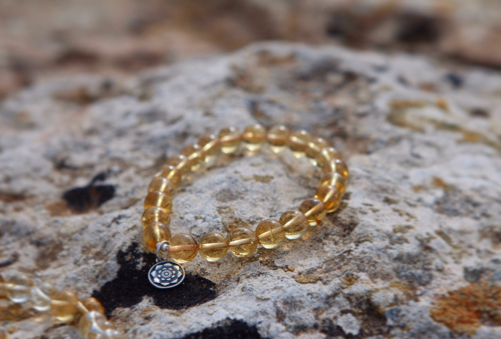 Sunkissed Love mala bracelet in premium Citrine with silver Lotus charm
