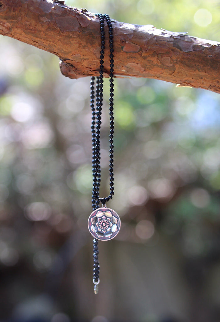 I am Mala 216 beads in Lava & Black Agate and silver pendant Lotus Mandala