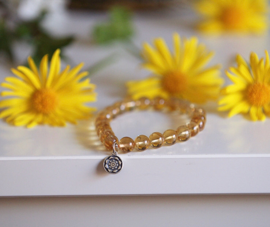 Sunkissed Love mala bracelet in premium Citrine with silver Lotus Flower