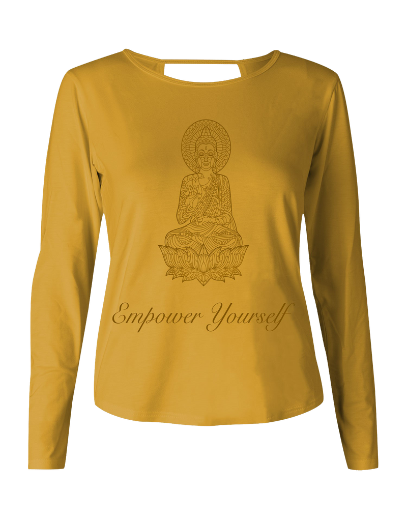 Eco Bamboo Long Sleeve Mustard Print Yoga Wear