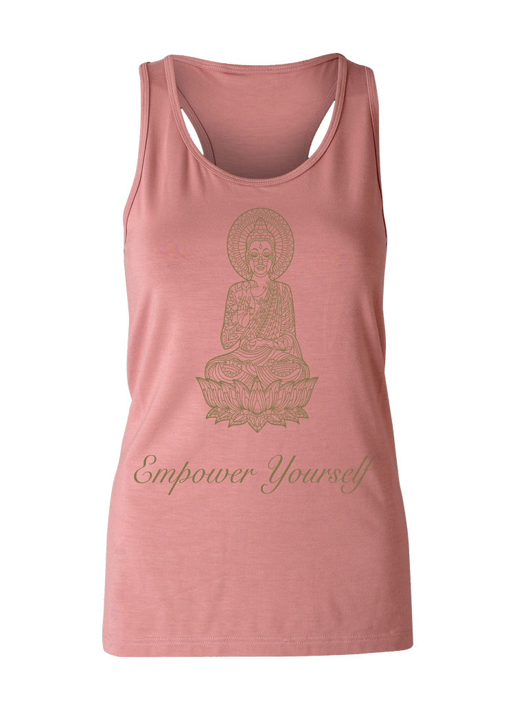 Yoga wear Eco Bamboo Loose Tank Dusty Pink print