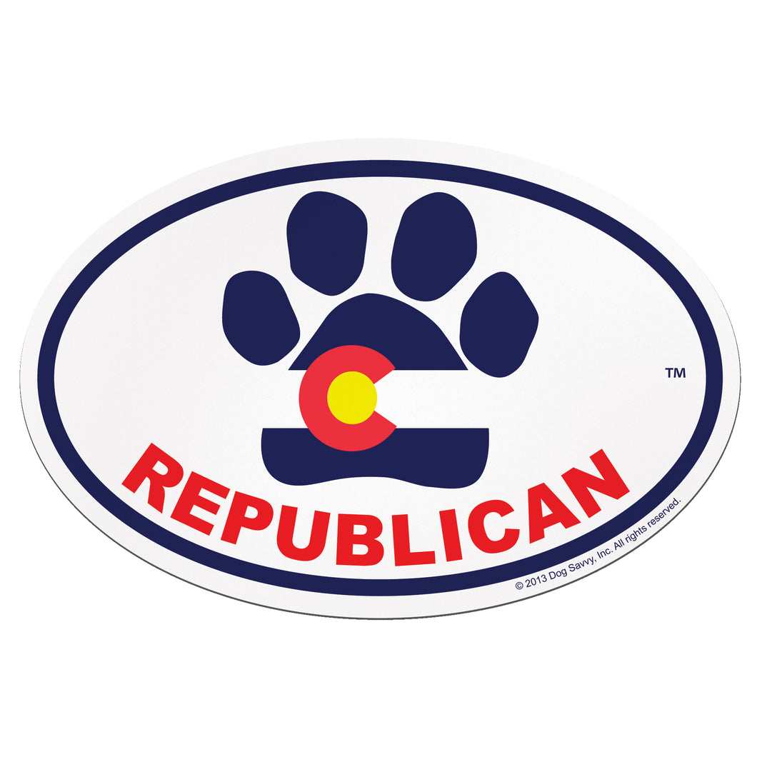 CO Paw REPUBLICAN Oval Magnet