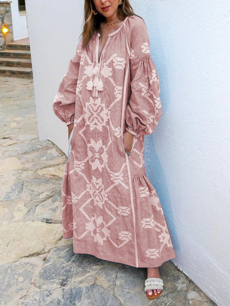 Holiday Long Sleeves Flower Printed Maxi Dress