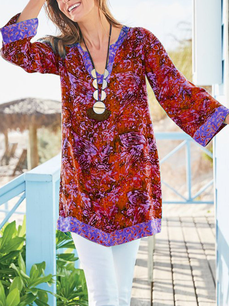 Women V-neck Long-sleeve Floral Temperament Dress