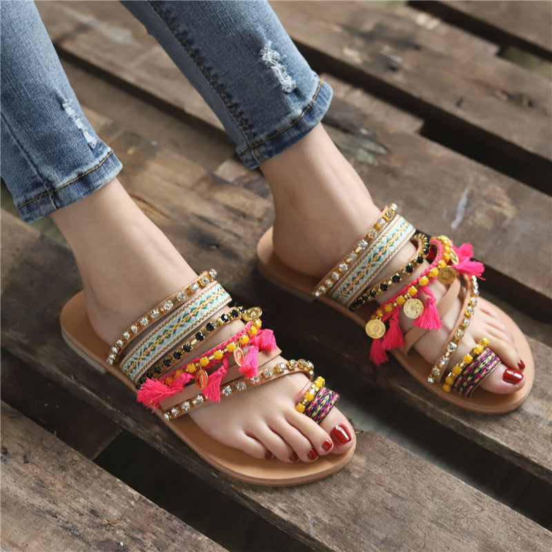 Handmade Women Sandals Tassel Flat Holiday Sandals with Beading
