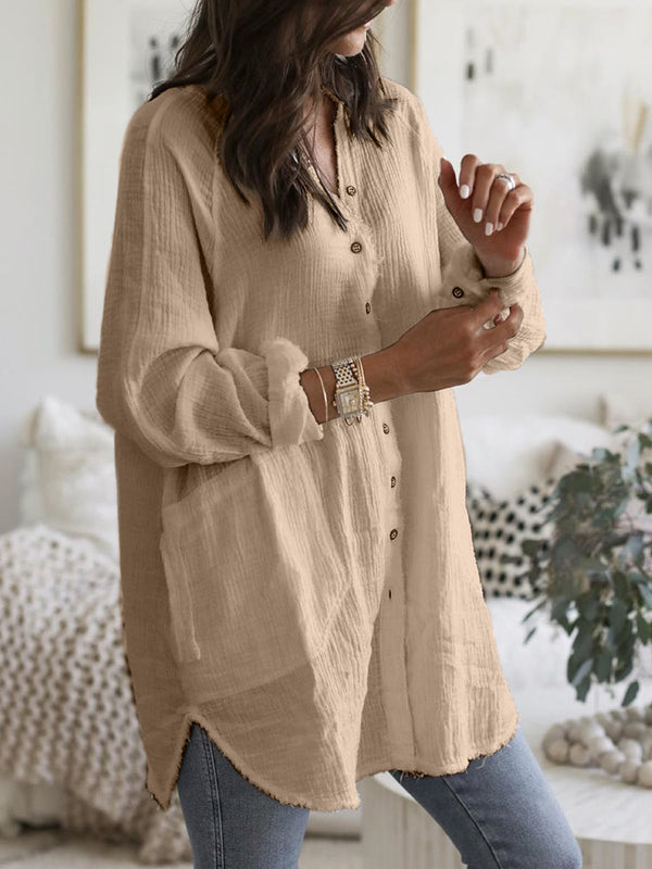Plus Size Solid Casual  Long Sleeve  Pockets Shirts & Tops