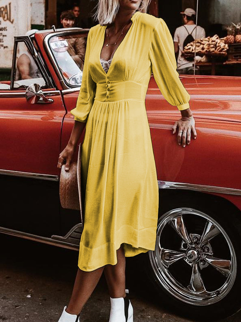 Plus Size Casual V Neck  Buttoned Split  Dresses
