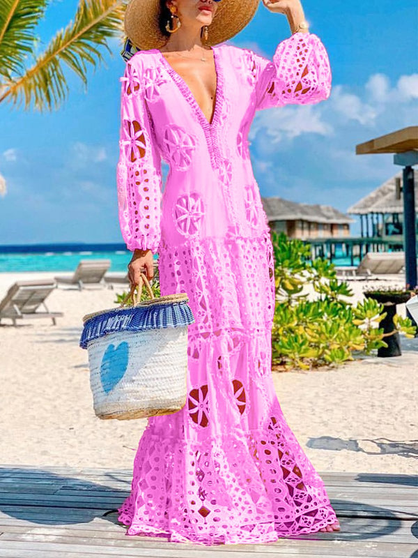 Balloon Sleeves Sexy Hollow Maxi Dresses