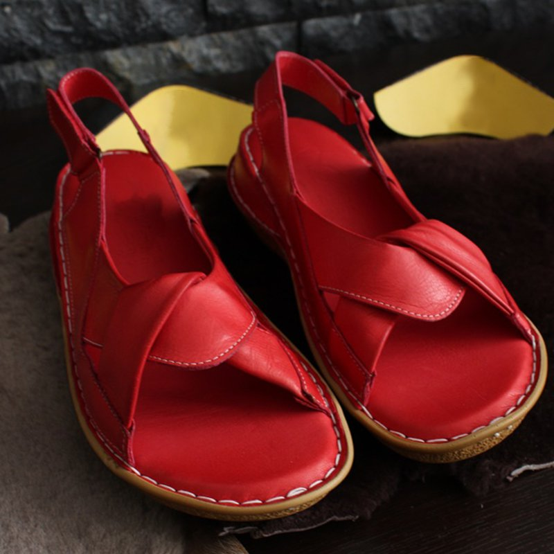 Leather Casual Flat Heel Sandals