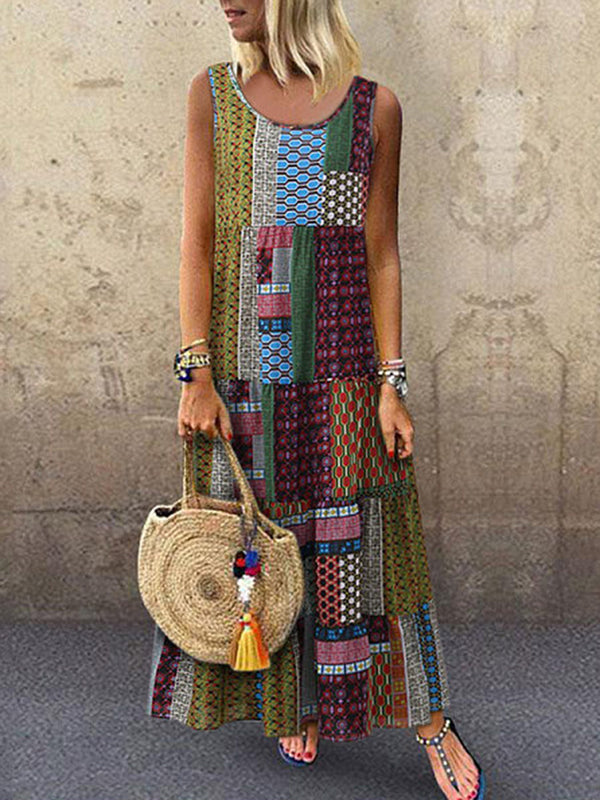 Crew Neck Women Dresses Shift Daytime Printed Patchwork Maxi Dress