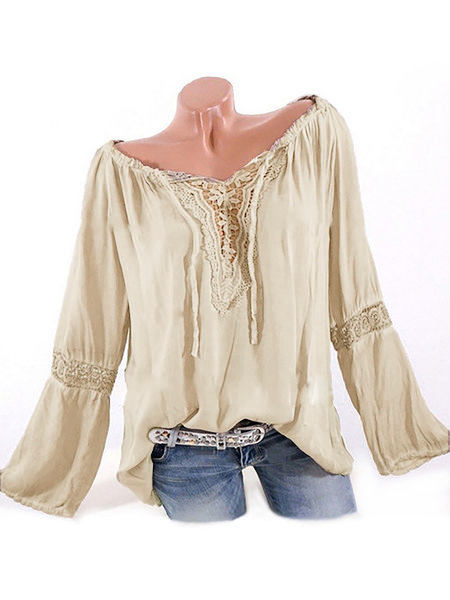 Women Causal Long Sleeve Tops Cutout V Neck Blouses
