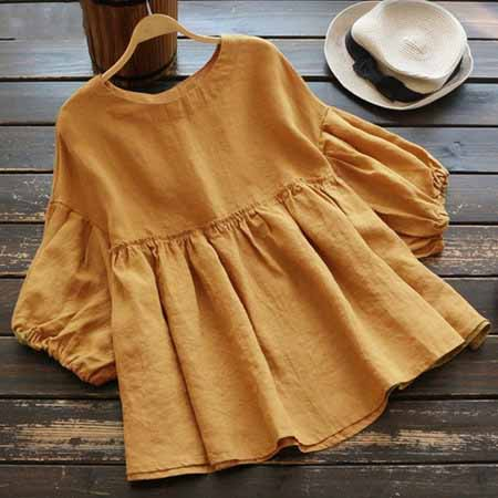 Women New Half Sleeves Tops Cute Crew Neck Blouse