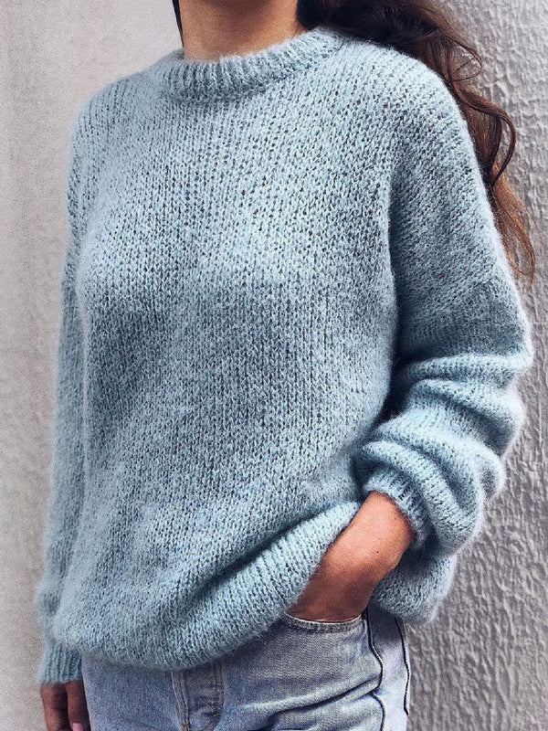 Casual Plus Size Long Sleeve Round Neck Sweater