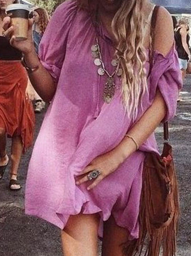 Solid Casual Long Sleeve Dresses