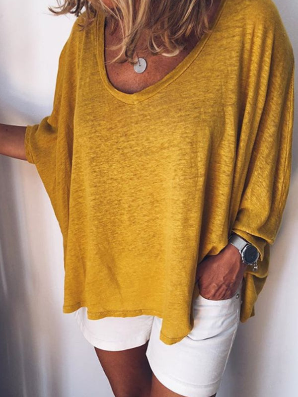 Yellow Long Sleeve Round Neck Cotton-Blend Shirts & Tops