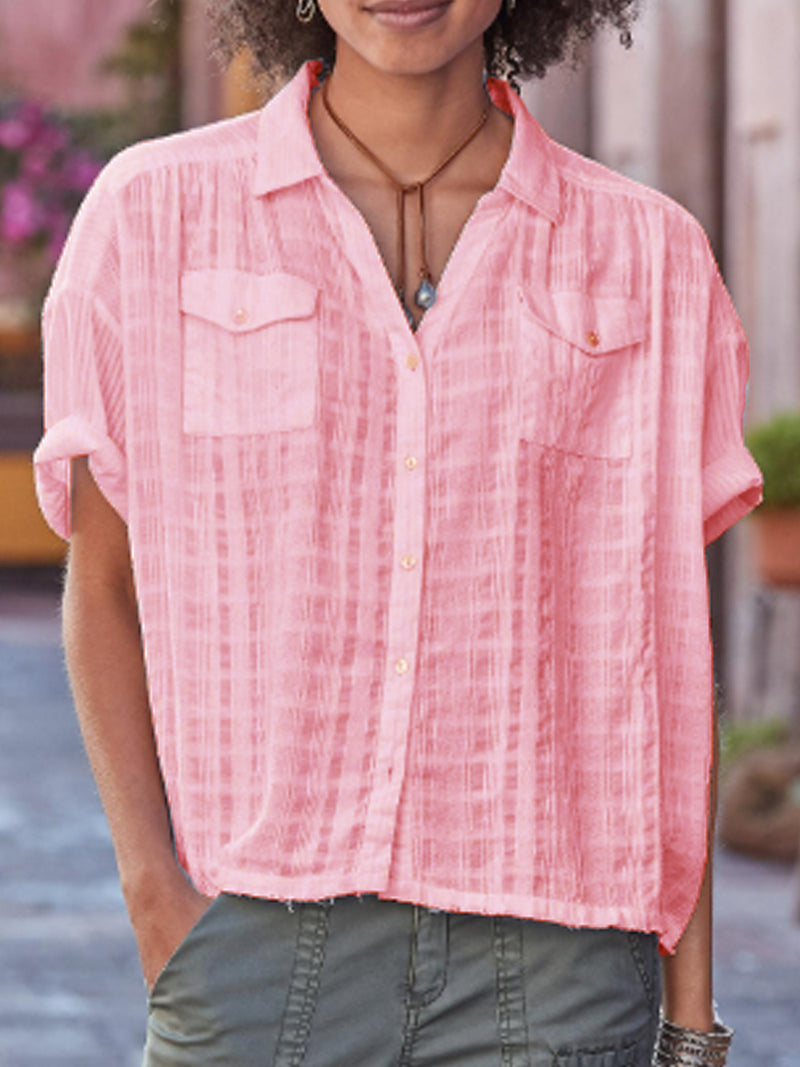 Casual Cotton-Blend Short Sleeve Shirts & Tops