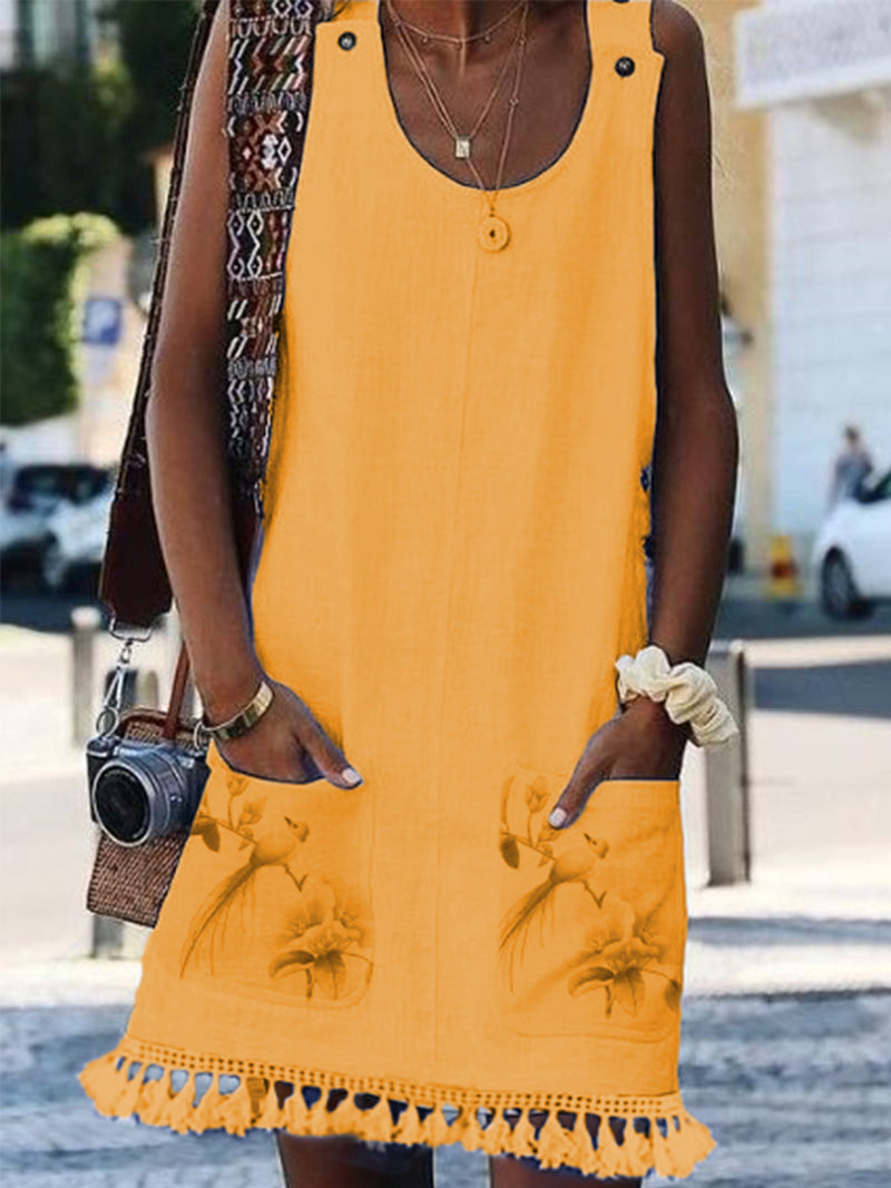 Sleeveless tassel Casual Dresses
